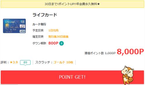 モッピー経由ライフカード発行で8,000P獲得