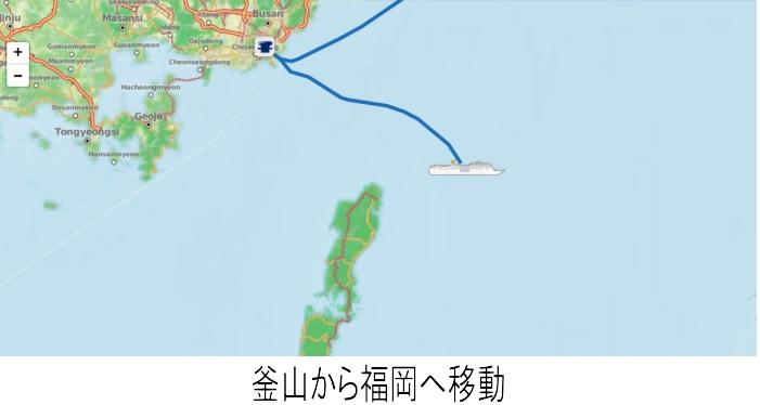 2017年6圧28日 釜山から福岡へ移動中