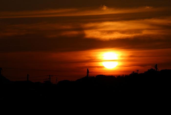 やっぱりまあるかった夕陽 29.5.13