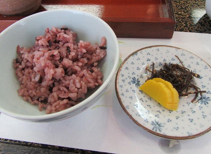 古代米のご飯 手づくりお漬物29.6.3