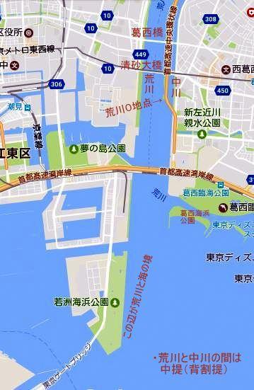 地図 荒川中提 葛西橋 清砂大橋 湾岸橋 河口橋 2017-06-18