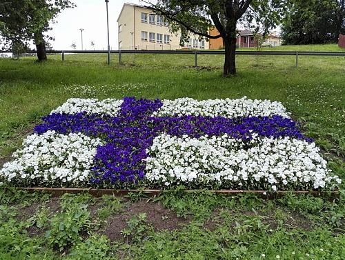 フィンランド 国旗 花壇 Suomi Finland Flag Flowers