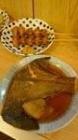 カレー煮とニンニク揚げ