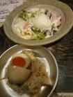 辻堂煮卵乗せポテサラと温玉シーザ-サラダ