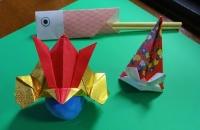 かぶとの折り紙と鯉のぼり箸置き