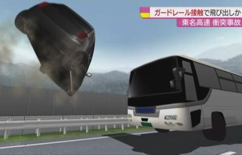 東名高速 デミオ 観光バス フライング