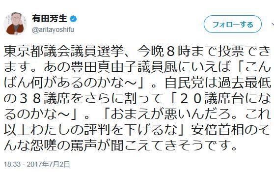 東京都議選 民進党 有田芳生 勝ち馬