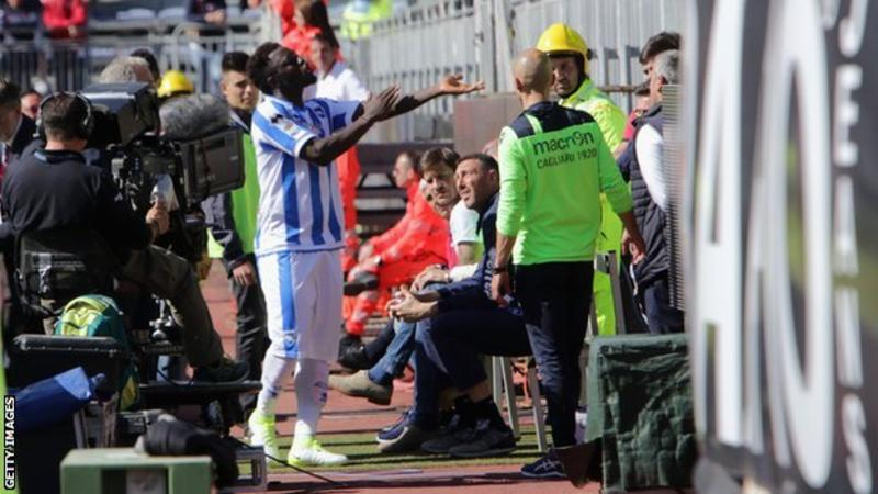 Sulley Muntari yellow carded after reporting 'racial abuse'