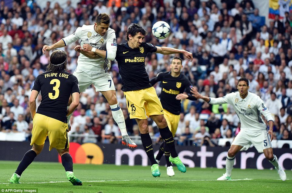 Cristiano Ronaldo rises above Stefan Savic to power home the opening goal for Real Madrid inside 10 minutes