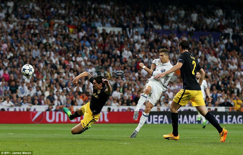Ronaldo smashes home his second on the volley to move Real to the brink of a third Champions League final in four years