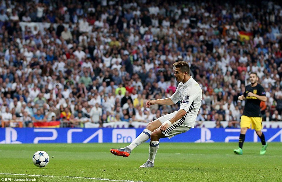 Ronaldo stays calm to slot home from close range and complete his hat-trick with five minutes remaining