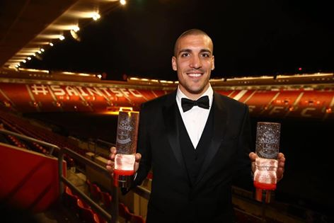 Oriol Romeu Vidal with the Southampton FC Fans and Players Player of the Season awards for 2016_17