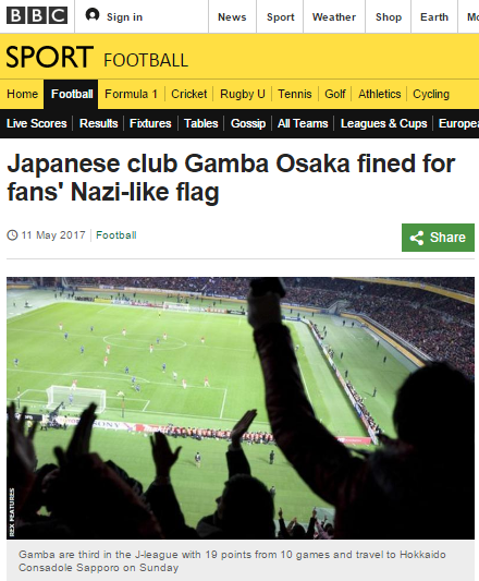Japanese club Gamba Osaka fined for fans Nazi-like flag