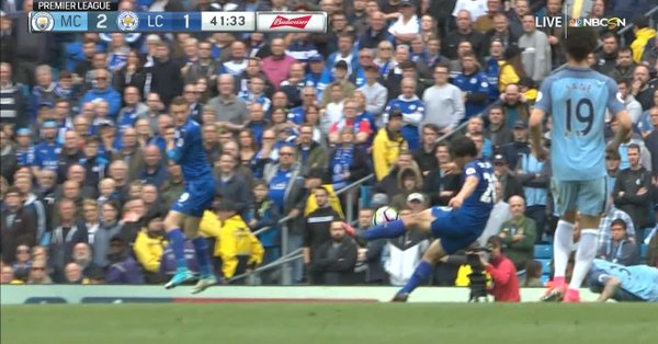 Okazakis perfect volley for Leicester vs man city