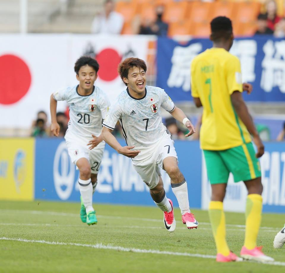 Ritsu Doan of Japan celebrates after scoring their second goal
