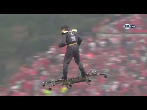 Man rides drone like a hoverboard at Portuguese cup final match