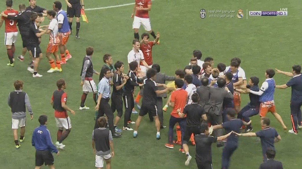 Fight at the end of the Urawa Red Diamonds vs Jeju United Asian Champions League match where Urawa scored 3 goals to complete an incredible
