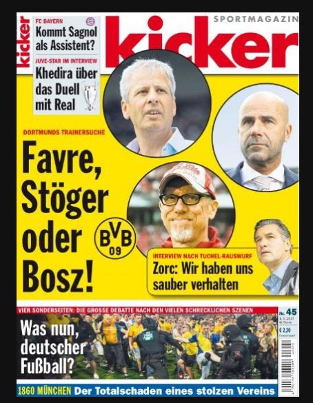 Peter Bosz on the cover of @kicker as one of the potential new managers of Borussia Dortmund