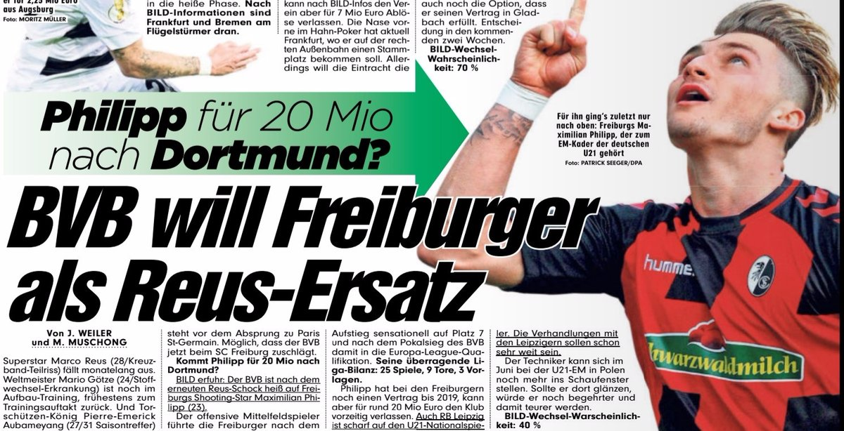 BVB keen on Maximilian Philipp say Bild Reus injury problems encouraging interest in Freiburg player