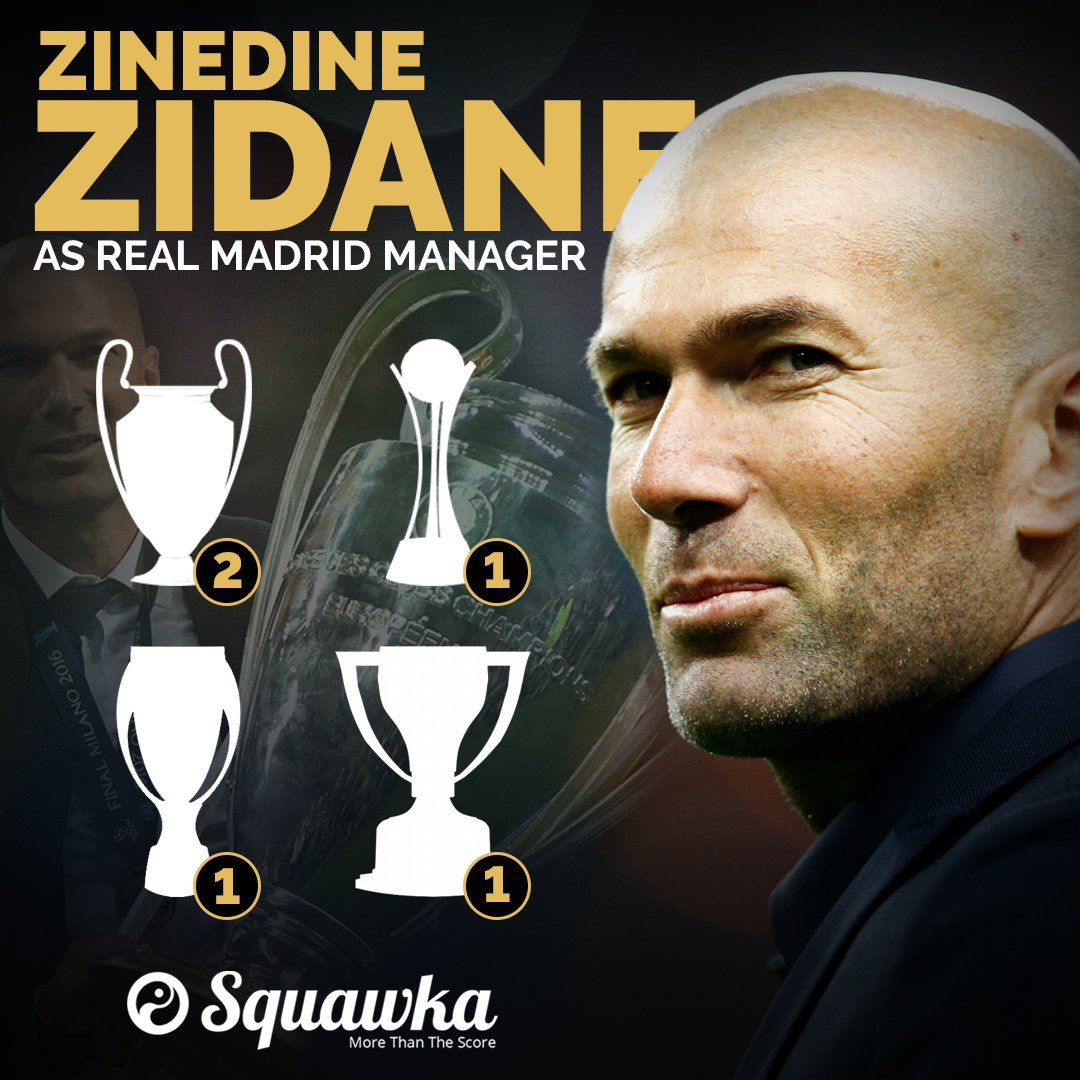 Zinedine Zidane as Real Madrid manager Champions League Club World Cup UEFA Super Cup LaLiga A trophy once every 103 days