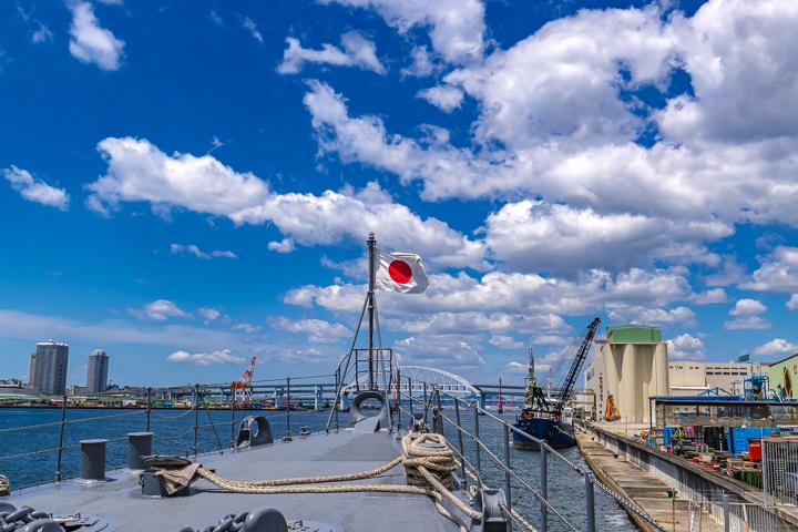 TV 3519 やまゆき 艦首旗竿日本国旗