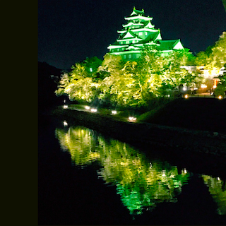 岡山城 春 ライトアップ