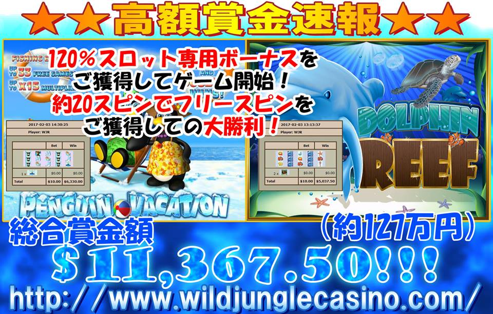 Dolphin Reef&PENGUIN VACATION 賞金額 $11,367.50ドル