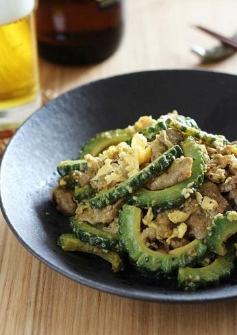 ゴーヤと牛肉のカレーマヨ炒め1