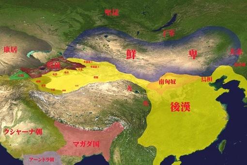 2世紀頃、鮮卑(檀石槐政権)とその周辺国。
