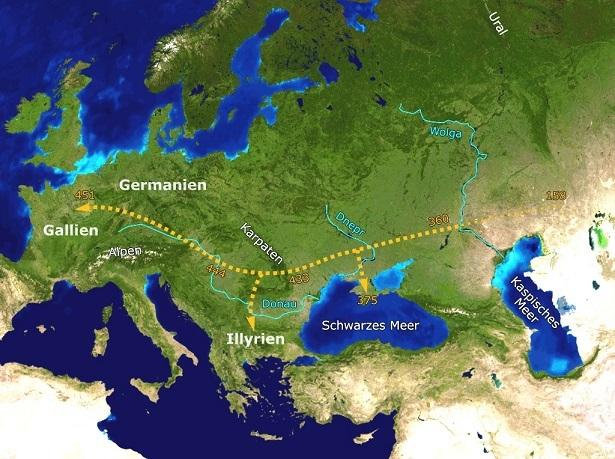 フン族の西方への移動の推定図