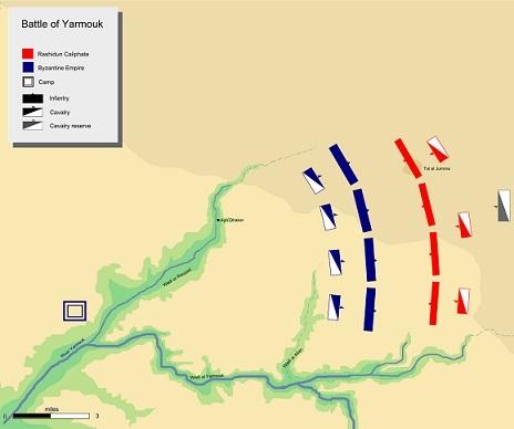 両軍の布陣(赤:正統カリフ軍、青:東ローマ軍)