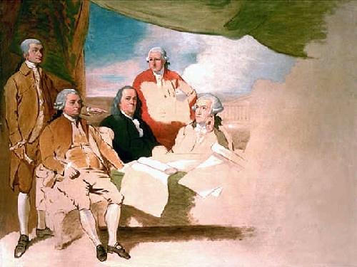 ベンジャミン・ウエストが描いた、使節団の絵画。この絵は自国の敗北を恥じたイギリス使節団がポーズを拒否したため、未完成となっている。