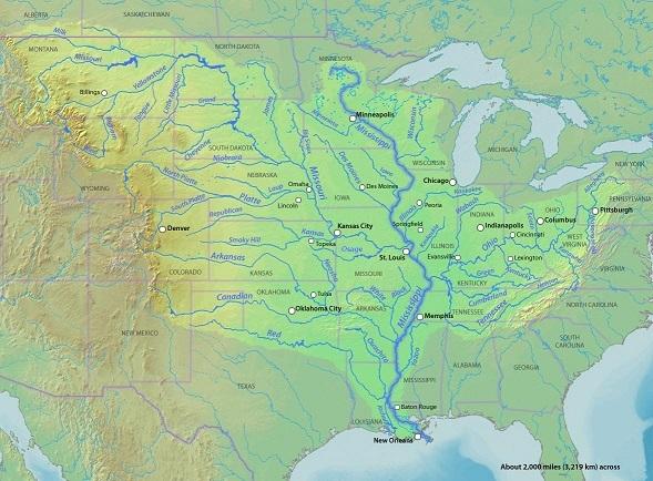 ミシシッピ川流域図