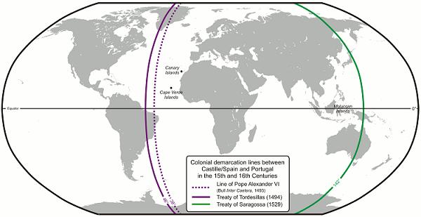 トルデシリャス条約(紫)とサラゴサ条約(緑)の境界線