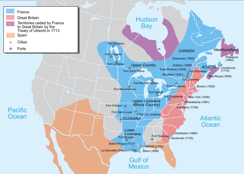 1750年当時の北アメリカと各国の勢力図。ピンクと紫がイギリス領、青がフランス領、オレンジがスペイン領である。