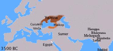 紀元前3500年ごろの銅器時代から青銅器時代にかけてのインド・ヨーロッパ語族の推定範囲。