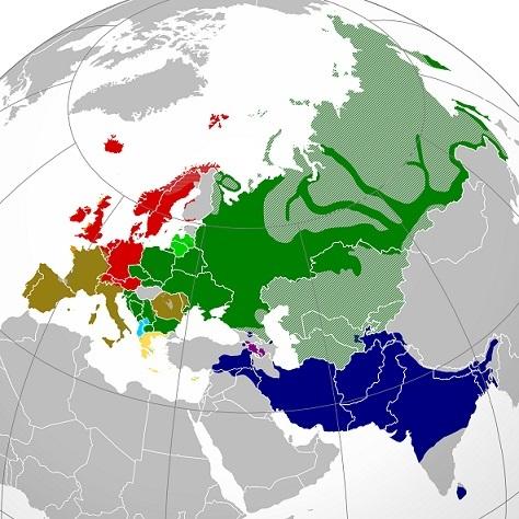 インド・ヨーロッパ語族の分布