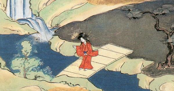 『三草紙絵巻』より「鉢かづき」。家を追い出されてさまよう鉢かづき姫。
