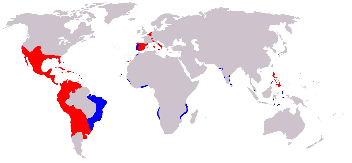 黄金の世紀におけるスペイン帝国(赤はスペイン王国、青はポルトガル王国)の領土、植民地、属領(1580年-1640年)