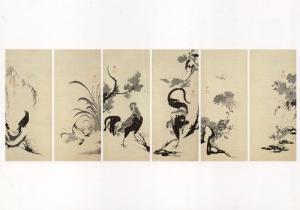 花鳥図押絵貼屏風(左隻)