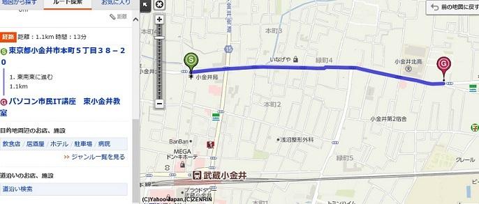 小金井郵便局から教室he