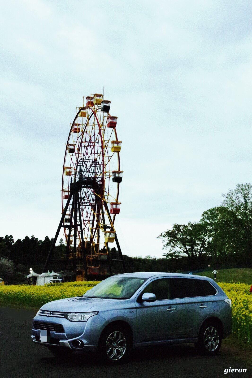 アウトランダーPHEV 観覧車 菜の花 東京ドイツ村