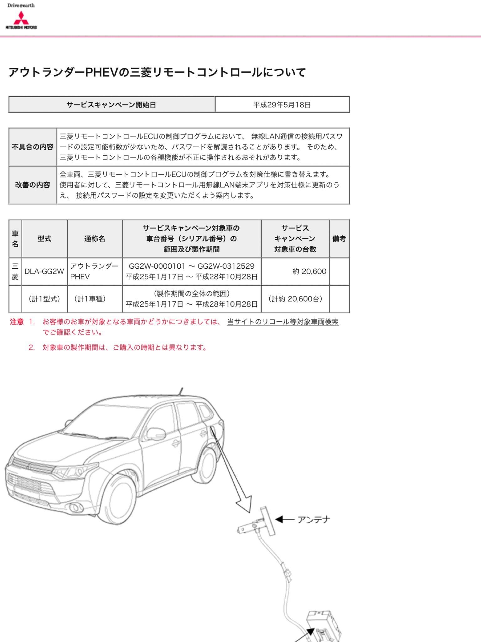 三菱アウトランダーPHEV サービスキャンペーン リモートコントロール セキュリティー