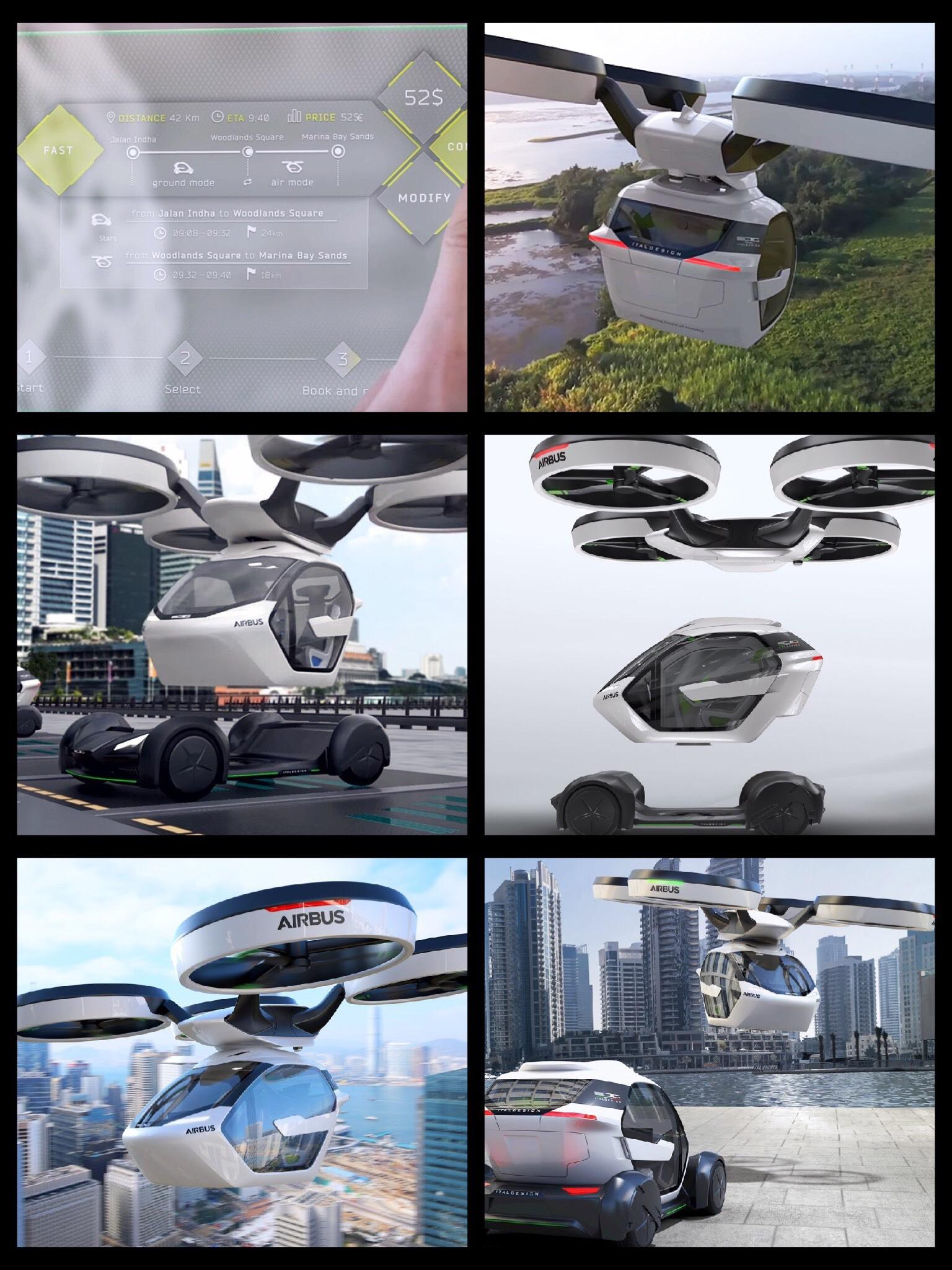 イタルデザインとエアバス社 空飛ぶクルマ EV「Pop.Up」