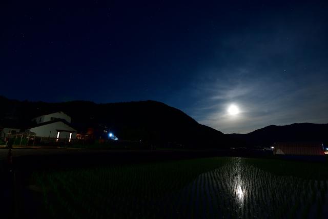 田んぼと月-s
