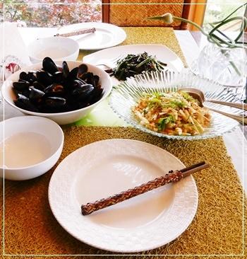 夕飯はムール貝