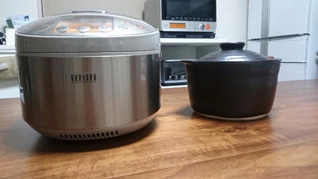 炊飯器と炊飯鍋横俯瞰