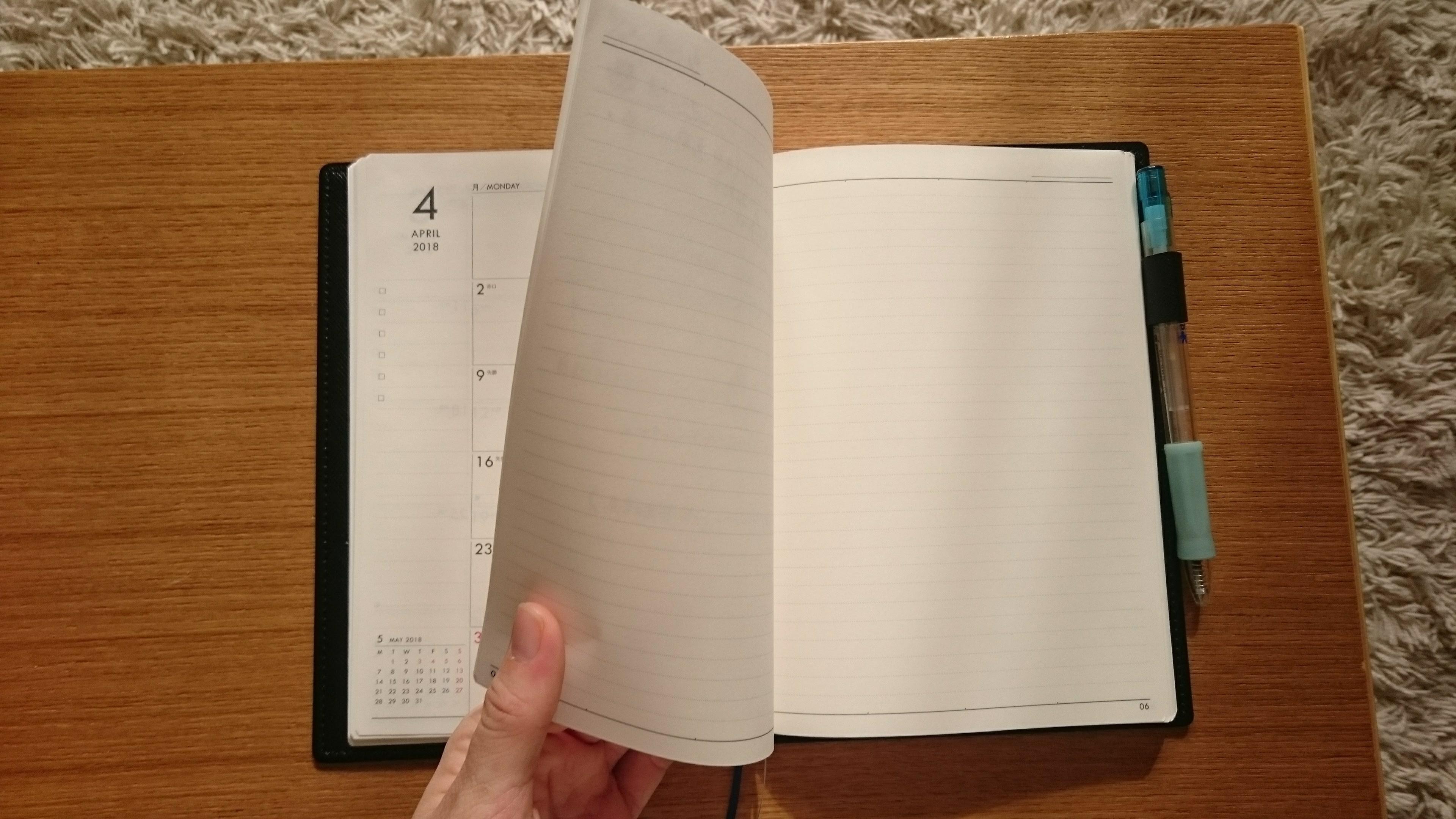 手帳の中身メモ欄