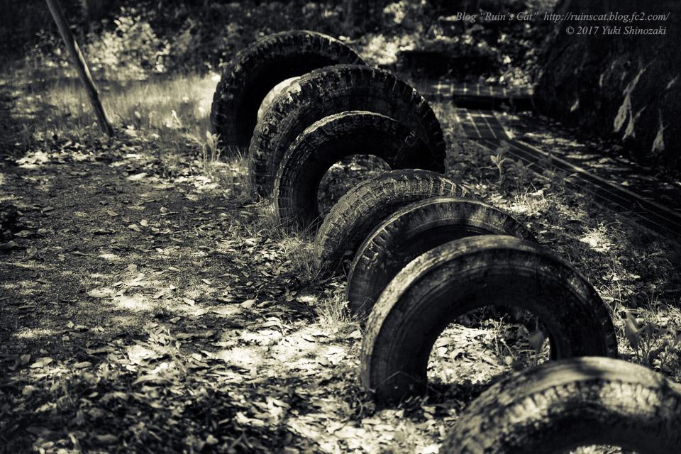 【廃墟】安原小学校 戸石分校_タイヤブリッジ