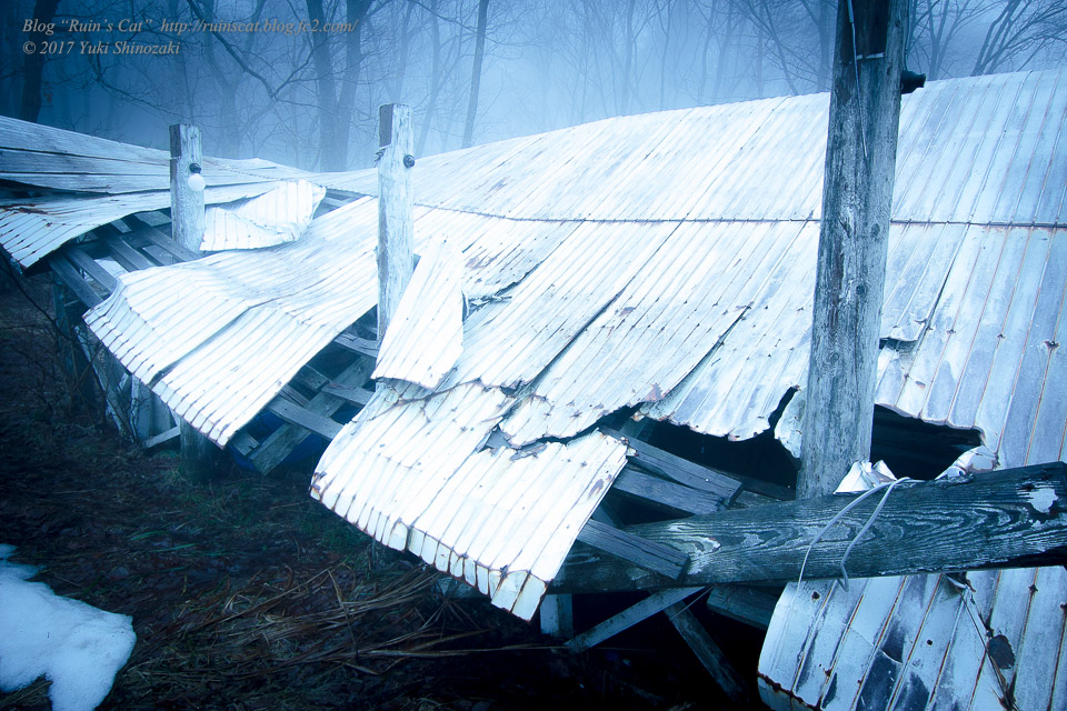 【廃墟】萬治キノコ牧場_積雪により潰された屋根